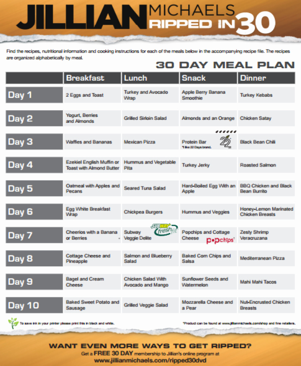 30 Day Plan Template Awesome 7 30 Day Meal Plan Templates Pdf