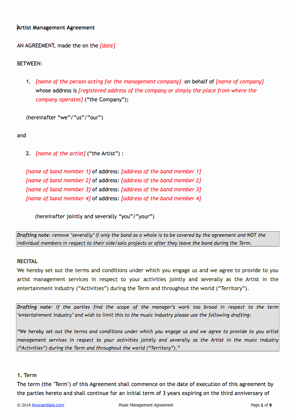 360 Deal Contract Pdf Awesome Artist Management Contract Template