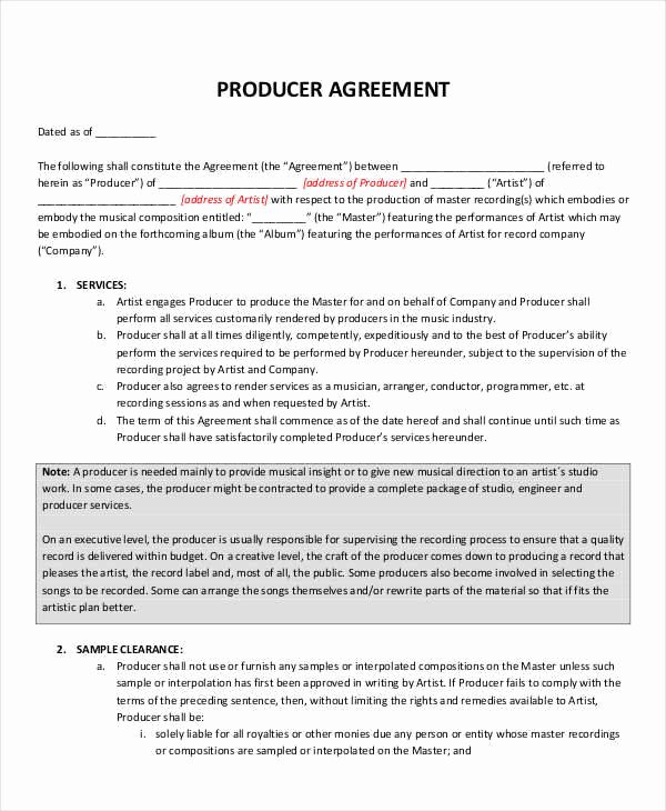 360 Deal Contract Pdf Unique Music Producer Contract Agreement