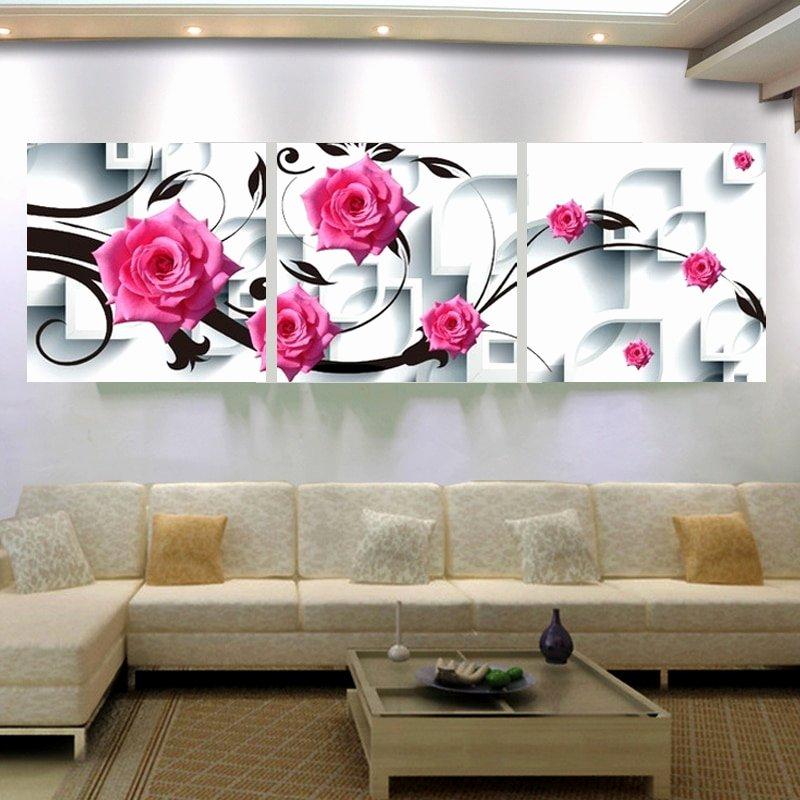 3d Canvas Wall Art Best Of Canvas Wall Art Flower Canvas Painting 3d Rose Flower Wall Decor Painting Living