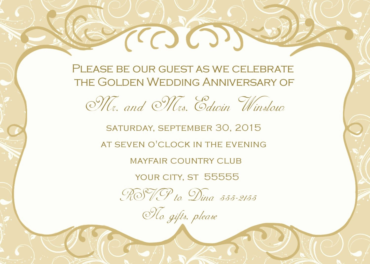 50th Anniversary Invitation Template Awesome 50th Wedding Anniversary Invitation