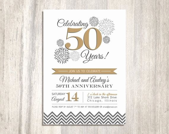 50th Anniversary Invitation Template Elegant 50th Wedding Anniversary Printable Invitation