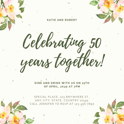 50th Anniversary Invitation Template Inspirational Customize 453 50th Anniversary Invitation Templates Online Canva