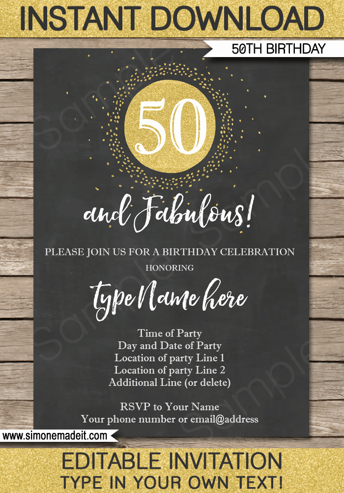 50th Anniversary Invitation Template Luxury Chalkboard 50th Birthday Invitations Template