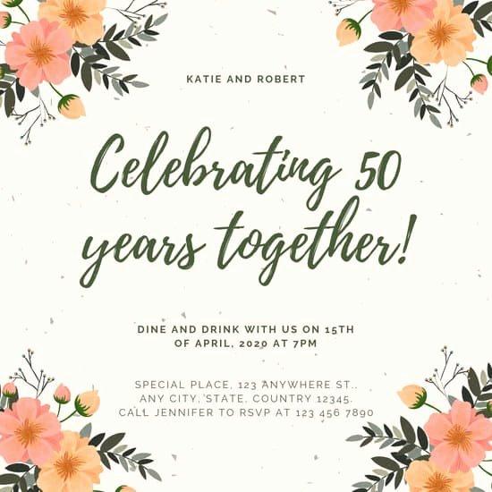 50th Anniversary Invitation Templates Beautiful Customize 388 50th Anniversary Invitation Templates Online Canva