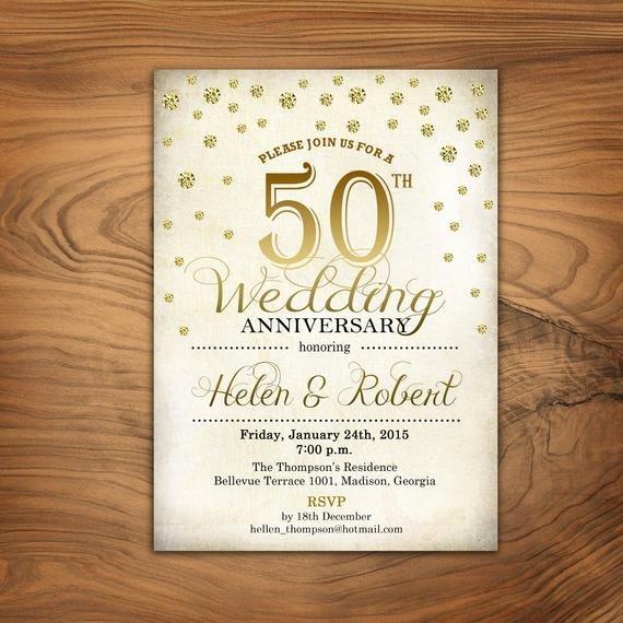 50th Anniversary Invitation Templates Best Of 50th Wedding Anniversary Invitation Gold White Retro