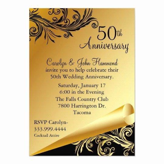 50th Anniversary Invitation Templates Best Of Black & Gold 50th Wedding Anniversary Invitation