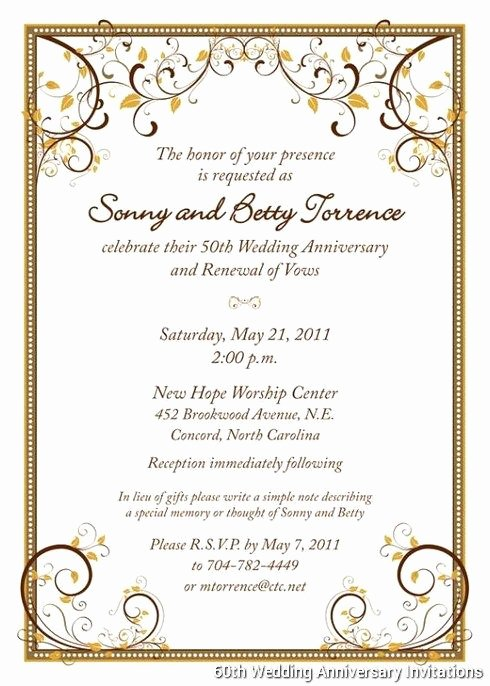50th Anniversary Invitation Templates Elegant 60th Wedding Anniversary Invitations Templates … Boda