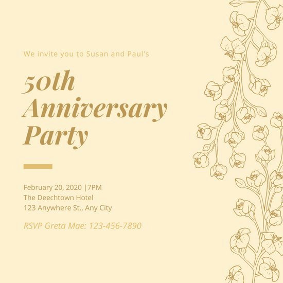 50th Anniversary Invitation Templates Lovely Customize 388 50th Anniversary Invitation Templates Online Canva