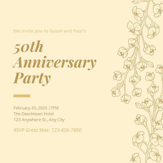 50th Anniversary Invitation Templates Lovely Customize 388 50th Anniversary Invitation Templates Online Canva