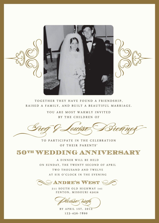 50th Anniversary Invitation Templates Luxury Golden 50th Anniversary Party Invitation