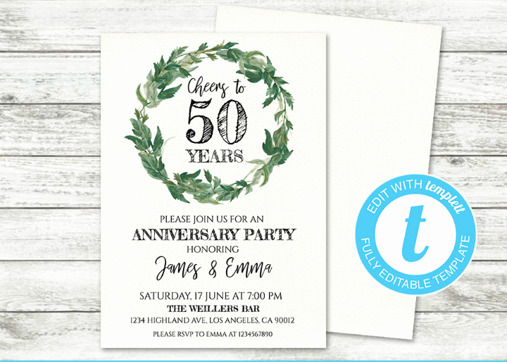50th Anniversary Invitation Templates New 32 50th Wedding Anniversary Invitation Designs & Templates Psd Ai