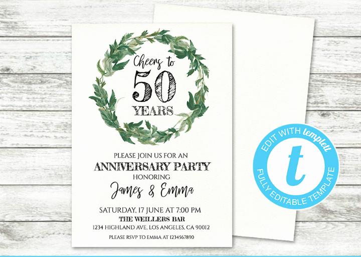 50th Anniversary Invitation Templates New 32 50th Wedding Anniversary Invitation Designs & Templates Psd Ai