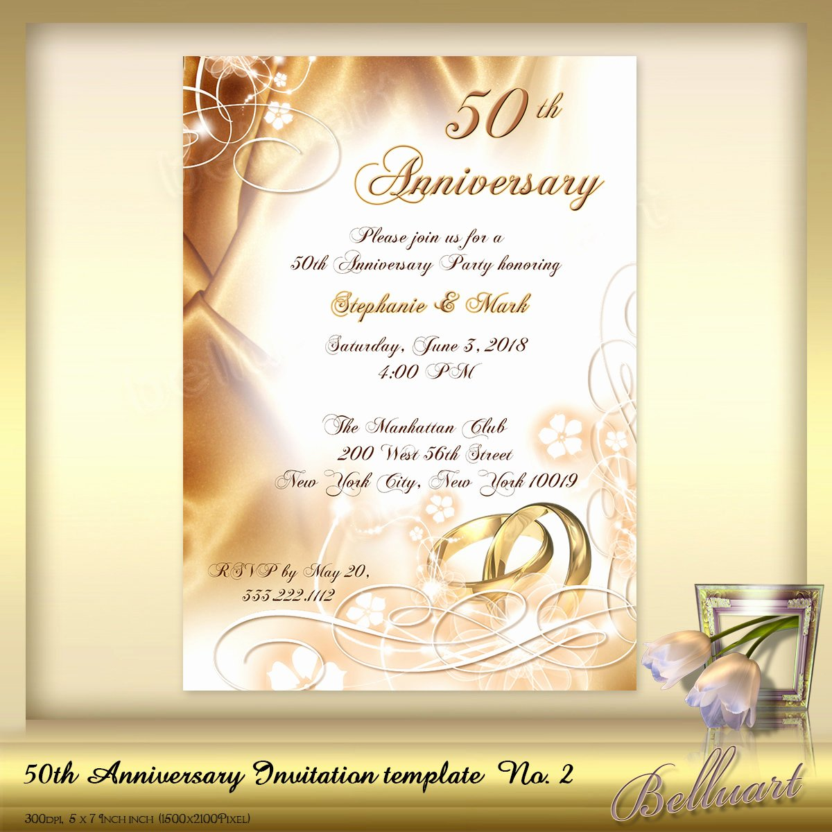 50th Anniversary Invitations Templates Elegant 50th Anniversary Invitation Template No 2 Golden Wedding
