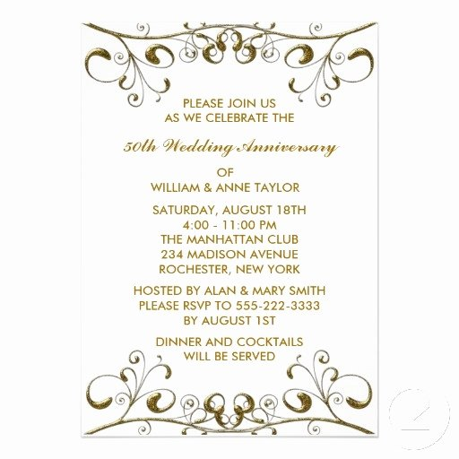 50th Anniversary Invitations Templates Inspirational Gold Swirls 50th Wedding Anniversary Invitations