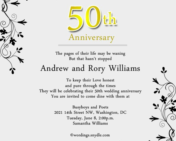 50th Anniversary Invitations Templates Lovely Funny Wording for 50th Wedding Anniversary Invitations