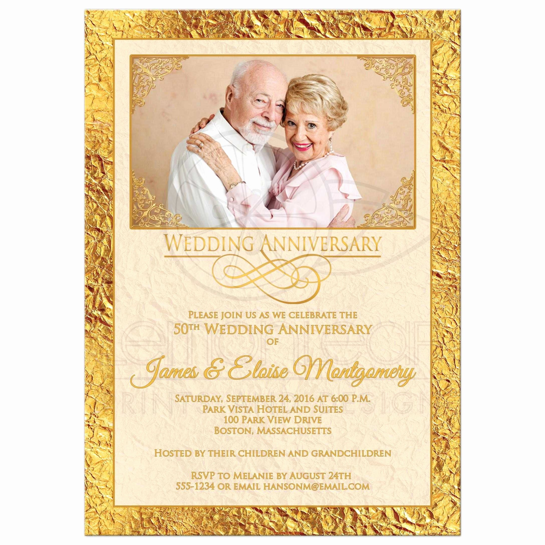 50th Wedding Anniversary Invitations Templates Beautiful 50th Wedding Anniversary Invitation Ivory Gold Scrolls