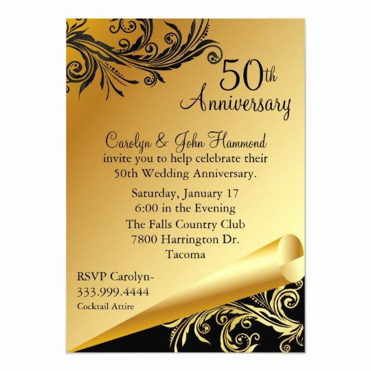 50th Wedding Anniversary Invitations Templates Fresh Black & Gold 50th Wedding Anniversary Invitation
