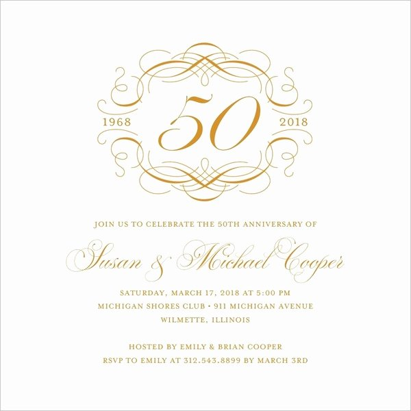 50th Wedding Anniversary Invitations Templates Luxury 50th Wedding Anniversary Invitations Free Template