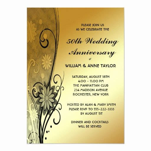 50th Wedding Anniversary Invitations Templates New Gold Flower Swirls 50th Anniversary Invitations