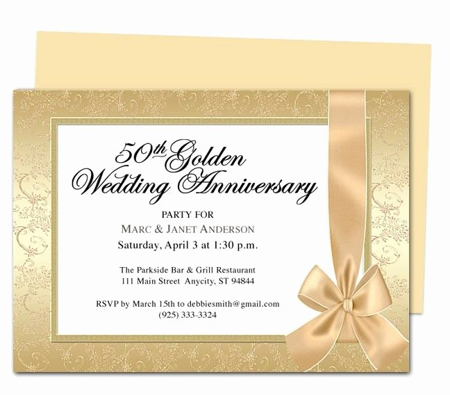 50th Wedding Anniversary Invitations Templates New Wrapping Anniversary Invitation Template