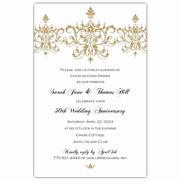 50th Wedding Anniversary Invitations Templates Unique Victorian Scroll Flourish Gold 50th Anniversary Invitations