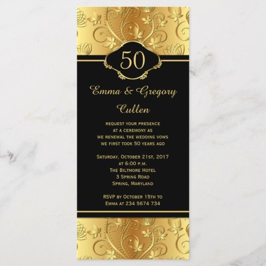 50th Wedding Anniversary Program Elegant 50th Wedding Anniversary Vows Renewal Program
