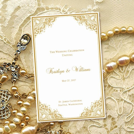 50th Wedding Anniversary Program Elegant Wedding Program Template Vintage Gold 8 5 X 11
