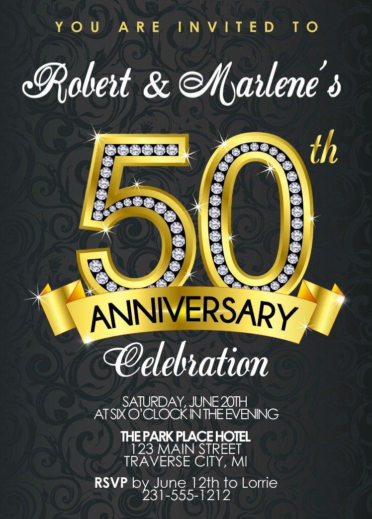 50th Wedding Anniversary Program New 50th Anniversary Invitation Diamond Gold Party Invite