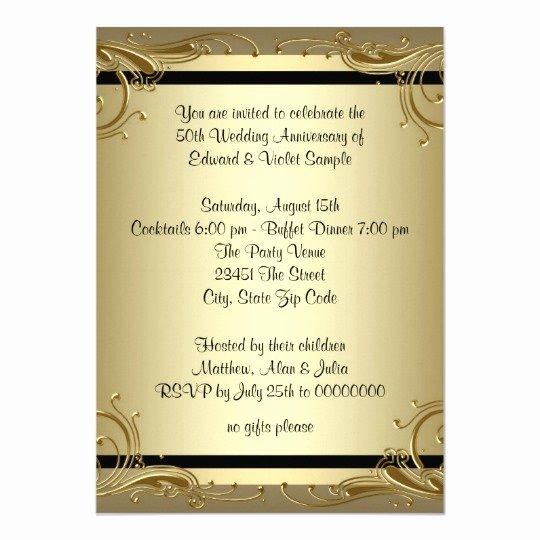 50th Wedding Anniversary Program New Elegant Gold 50th Wedding Anniversary Party Card