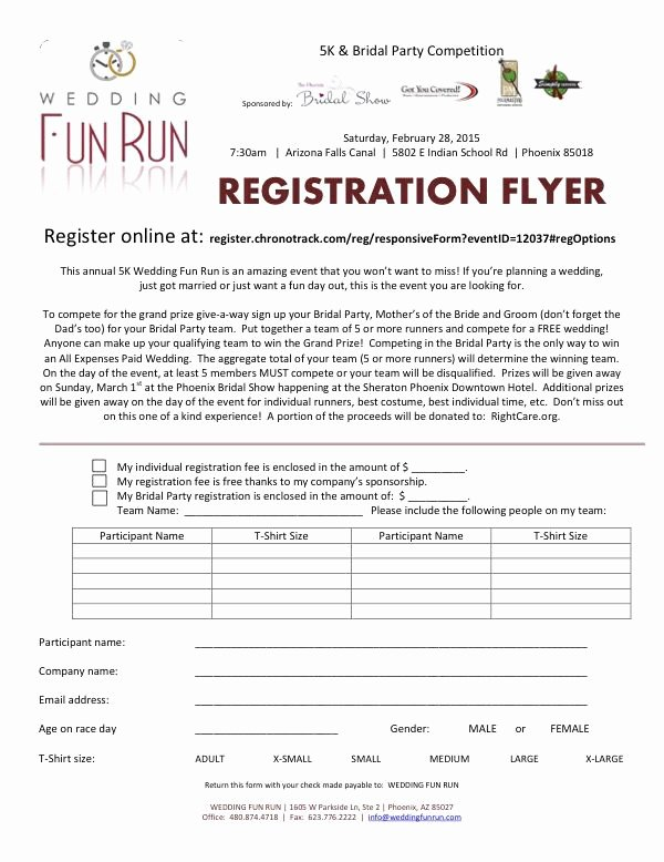 5k Race Registration form Template Fresh Registration form Wedding Fun Run 5k 1 Mile Walk