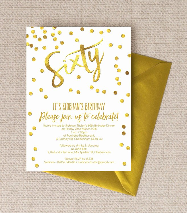 60 Th Birthday Invitation Awesome Gold Calligraphy & Confetti 60th Birthday Party Invitation