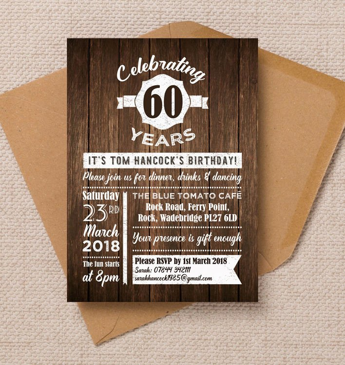 60 Th Birthday Invitation Awesome Rustic Wooden Background 60th Birthday Party Invitation