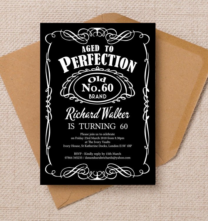 60 Th Birthday Invitation Beautiful Whiskey Label themed 60th Birthday Party Invitation From £