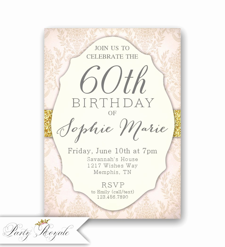 60 Th Birthday Invitation Best Of Elegant 60th Birthday Invitations Women S 60th