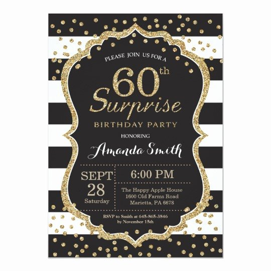 60 Th Birthday Invitation Best Of Surprise 60th Birthday Invitation Gold Glitter Invitation