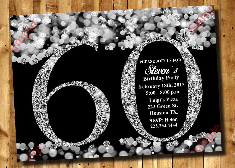 60 Th Birthday Invitation Elegant 60th Birthday Invitation Silver Glitter Invitation Adult