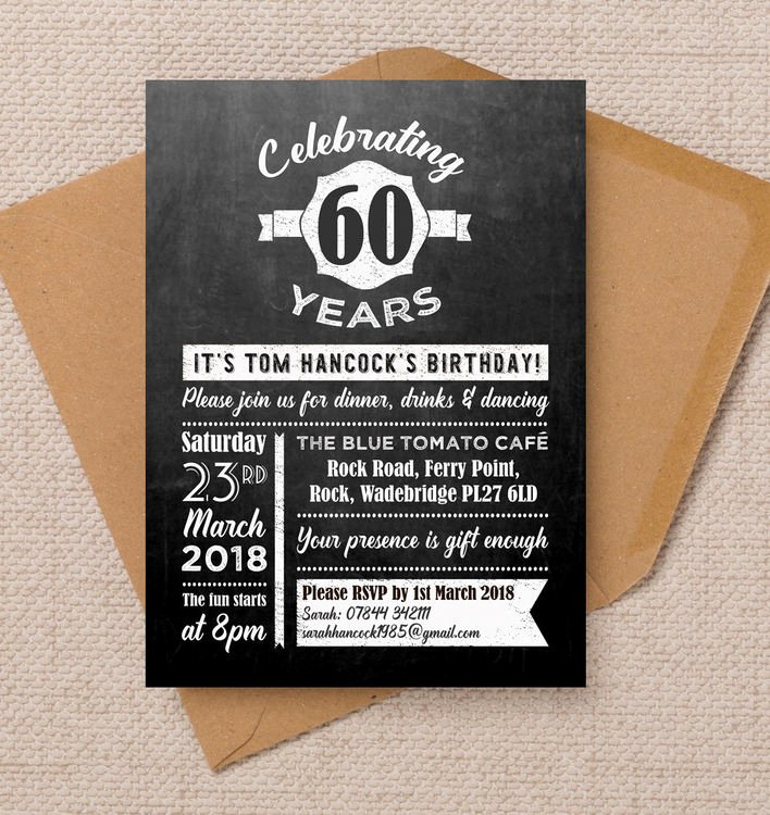 60 Th Birthday Invitation Elegant Chalkboard Typography 60th Birthday Party Invitation From