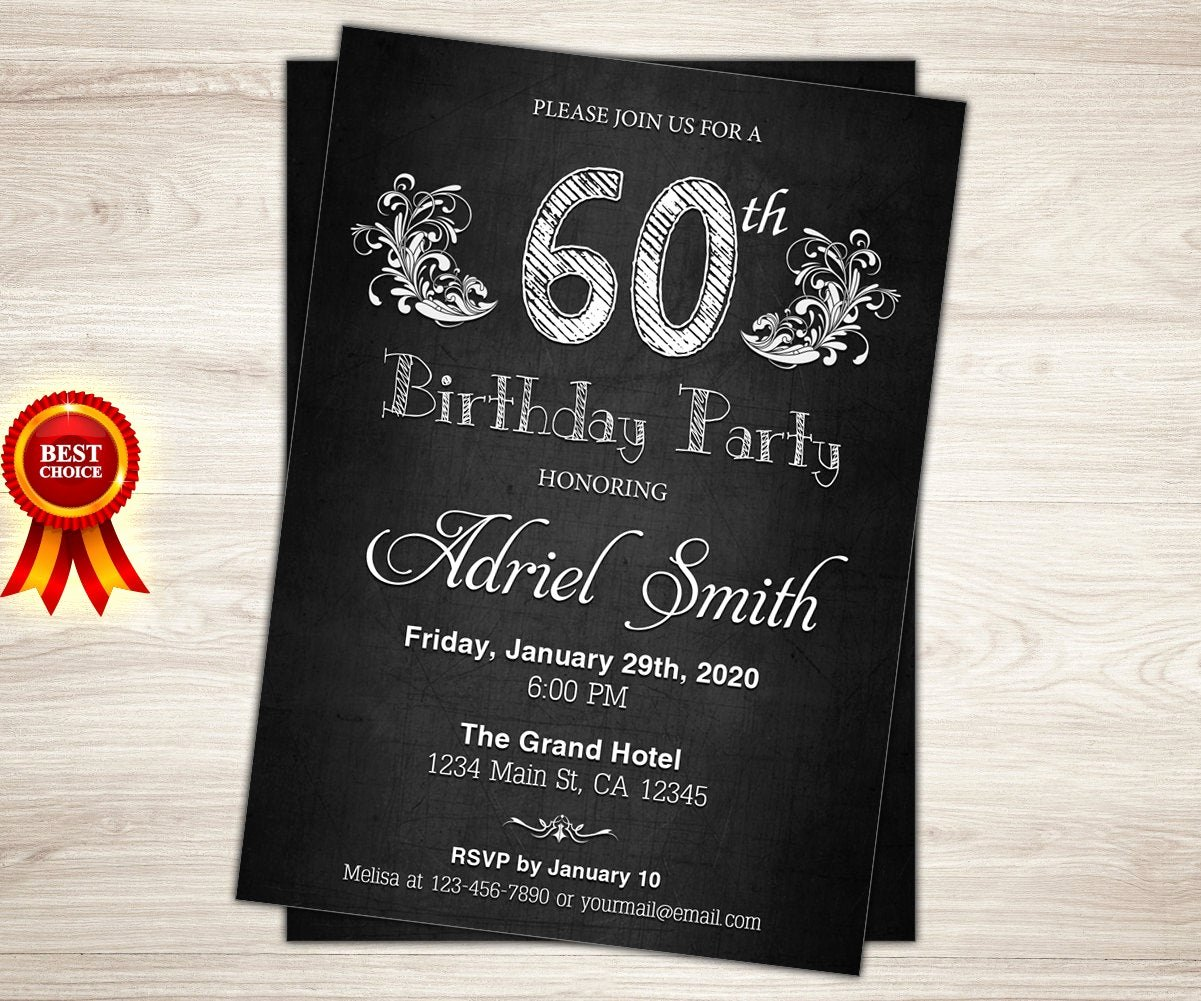 60 Th Birthday Invitation Elegant Surprise 60th Birthday Invitation Chalkboard 60th Birthday