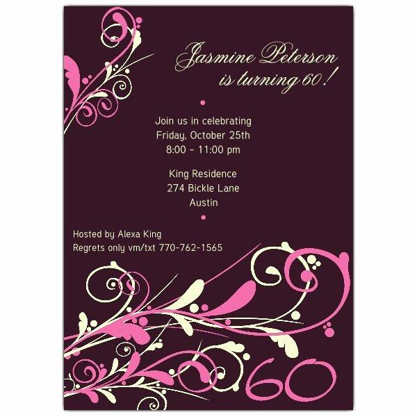 60 Th Birthday Invitation Fresh Camia Plum 60th Birthday Invitations