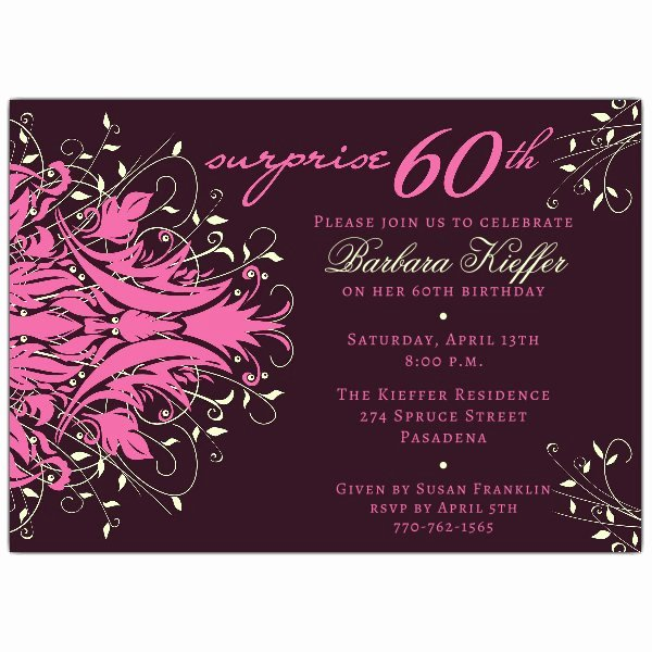 60 Th Birthday Invitation Luxury andromeda Pink Surprise 60th Birthday Invitations