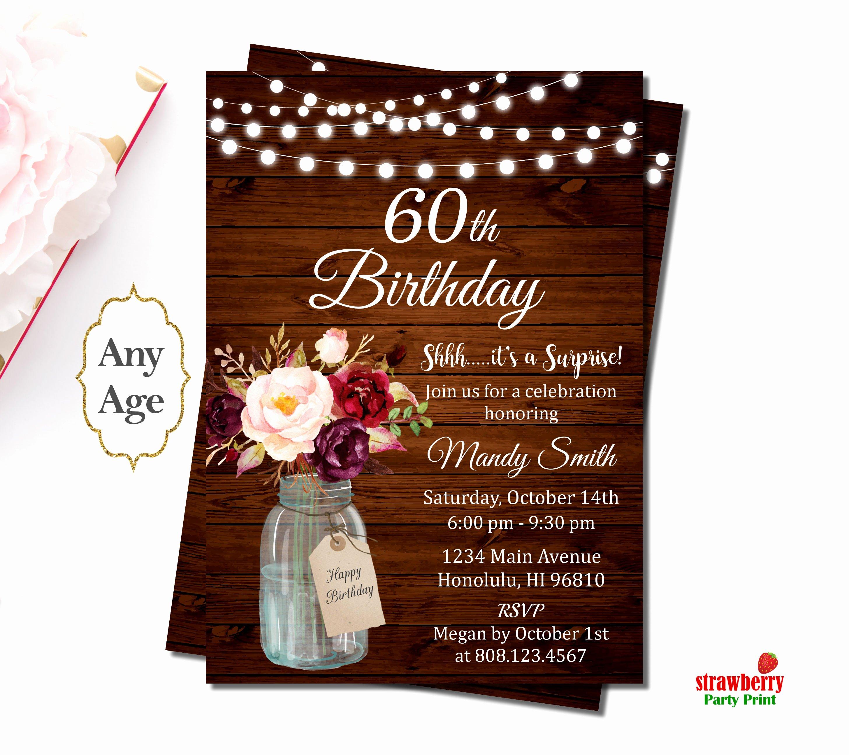 60 Th Birthday Invitation Unique 60th Birthday Invitations for Women Surprise 60th Birthday