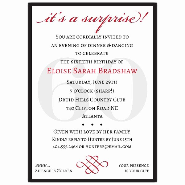 60 Th Birthday Invitation Unique Classic 60th Birthday Red Surprise Invitations