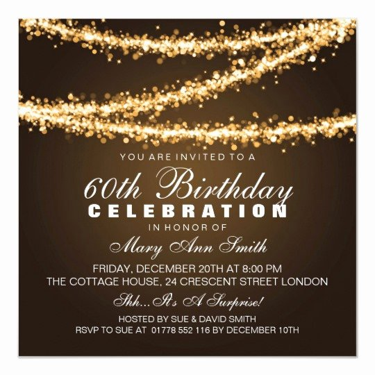 60 Th Birthday Invitation Unique Elegant 60th Birthday Party Gold String Lights Invitation