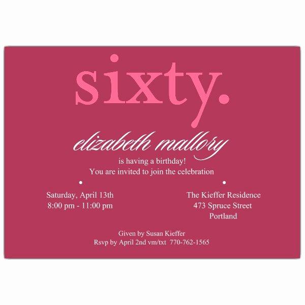 60 Th Birthday Invitation Unique Sixty Pink 60th Birthday Invitations