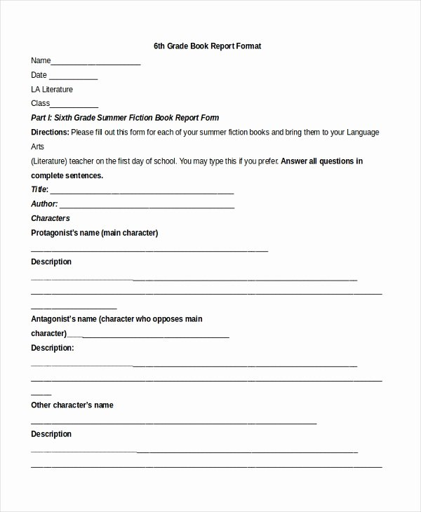 6th Grade Book Report Template Beautiful Free 10 Sample Book Report formats In Pdf