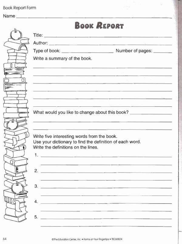 6th Grade Book Report Template New Book Report Worksheet