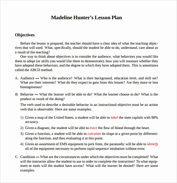 7 Step Lesson Plan Elegant Sample Madeline Hunter Lesson Plan Template 9 Free Documents In Pdf Word