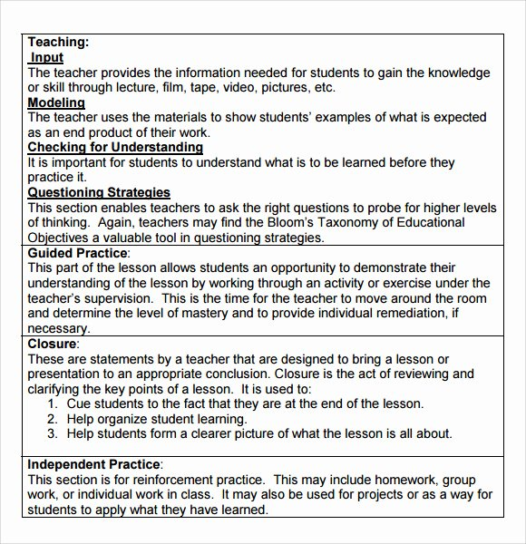7 Step Lesson Plan Inspirational Sample Madeline Hunter Lesson Plan Template 9 Free Documents In Pdf Word