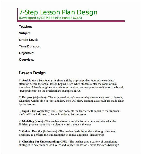 7 Step Lesson Plan Luxury Sample Madeline Hunter Lesson Plan Template 7 Free Documents In Pdf Word